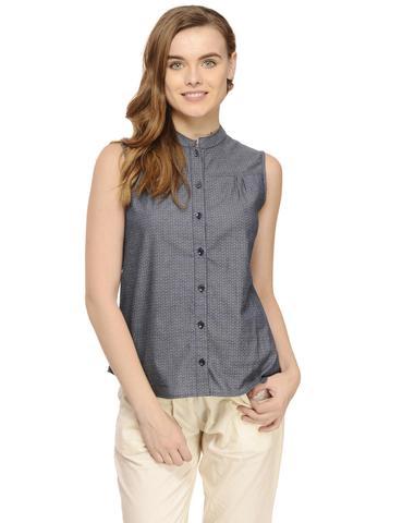 Blue Chambray Band Collar Sleeveless Shirt