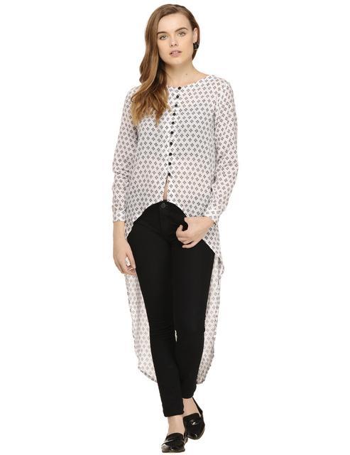 Black & White Abstract Dot Printed Full Sleeve Shirt