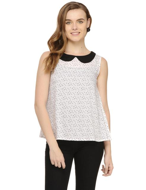 Black & White Polka Dot Sleeveless Flare Top with Peter Pan Collar