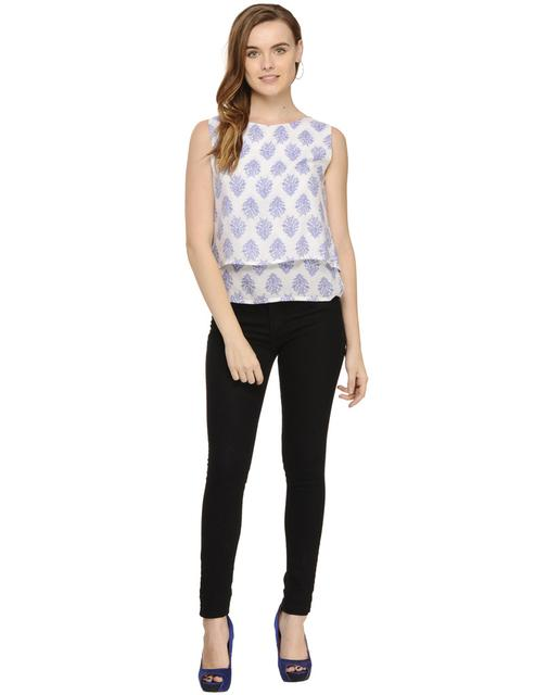 Paisley Print Double Layer Sleeveless top
