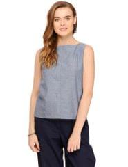 Chambray Boat Neck Sleeveless Top