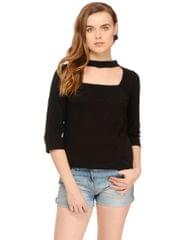 Black Solid Choker Neck Top