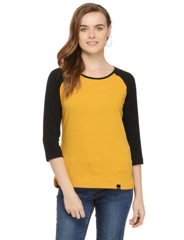 Yellow Raglan with Black 3/4 Sleeves Tee