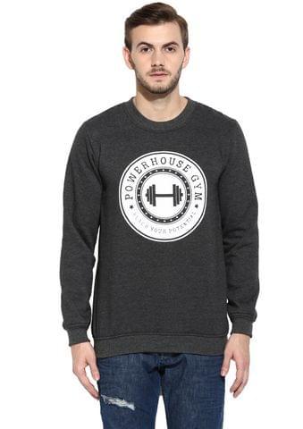 Charcoal Full Sleeve Round Neck Fleece Sweatshirt