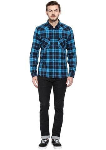 Blue Flannel Check Full Sleeve Slim-Fit Shirt