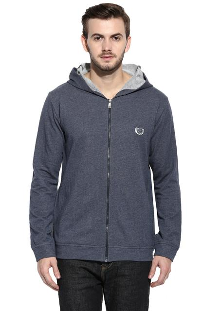 Steel Blue Melange Full Zip Closure Hooded Terry Sweatshirt