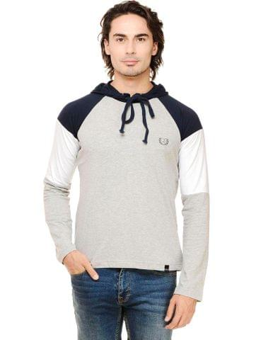 Multicolor Solid Full Sleeve Raglan Hooded Round Neck Tee
