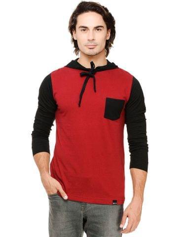 Maroon Solid Full Sleeve Black Hooded Round Neck Tee