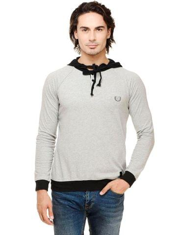 Grey Solid Full Sleeve Black Hooded Round Neck Tee