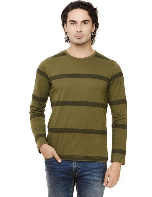Army Green Printed Stripes Full Sleeve Round Neck Tee