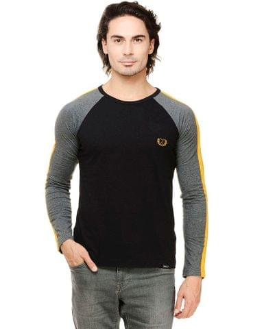 Black Solid Full Sleeve Grey Raglan Round Neck Tee