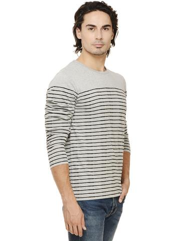 Grey Melange Black Striped Full Sleeve Round Neck Tee