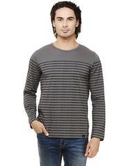 Steel Grey Black Striped Full Sleeve Round Neck Tee