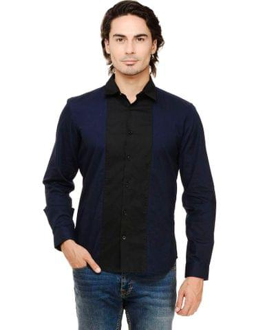 Navy Solid with Front Black Panel Slim Fit Casual Full Sleeve Shirt