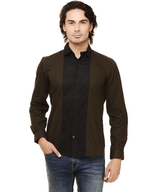 Olive Solid with Front Black Panel Slim Fit Casual Full Sleeve Shirt