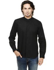 Black Solid Concealed Placket Mandarin Collar Casual Full Sleeve Shirt