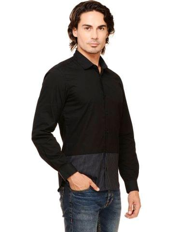Black Solid with Striped Panel Cutaway Collar Casual Full Sleeve Shirt