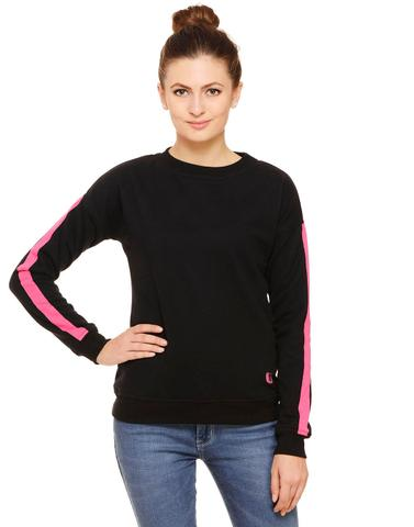 Black sweatshirt with Pink Tape trimmed Sleeves