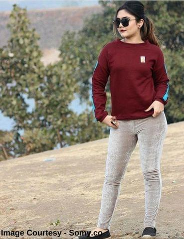 Maroon Sweatshirt with Turquoise Tape trimmed Sleeves