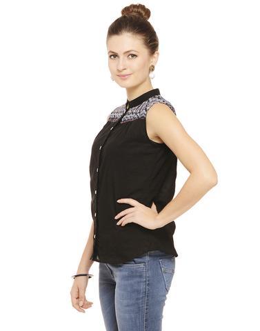 Black Shirt with Printed yoke