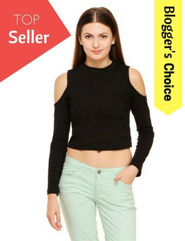 Black Cold Shoulder Crop Top