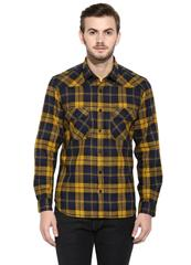 Yellow Flannel Check Full Sleeve Slim-Fit Shirt