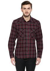 Maroon Flannel Check Full Sleeve Slim-Fit Shirt