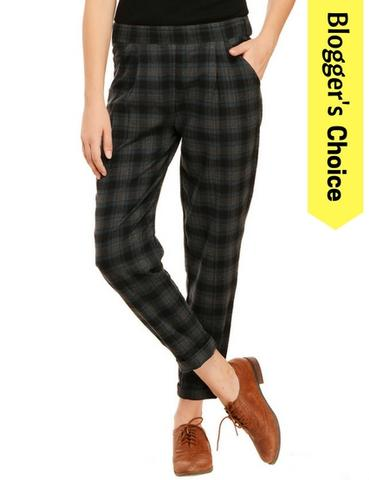 Green and Black Plaid Pants
