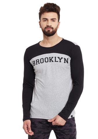 Grey Body Full Black Sleeve Round Neck Tee