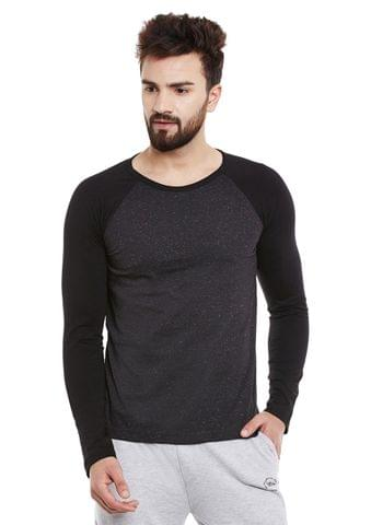 Black Multicolor Nep Raglan Sleeve Round Neck Tee