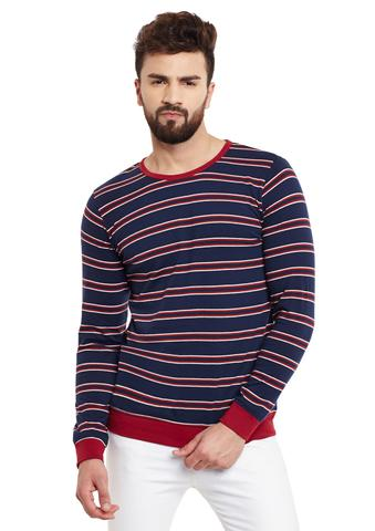 Navy Stripes Full Sleeve Round Neck Tee