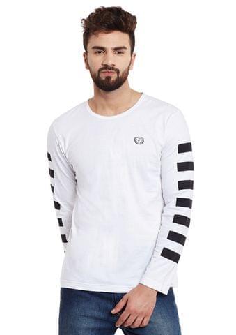 White Stripes Sleeve Round Neck Tee