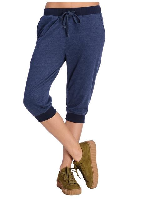 Blue Melange Knee Length Jogger