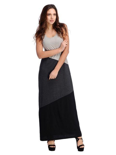 Sleeveless Color Block Maxi Dress