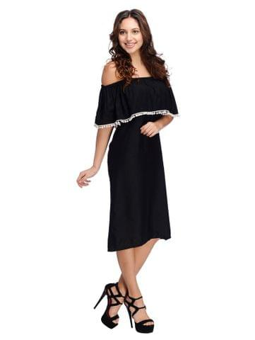 Black Ruffle Bardot Dress