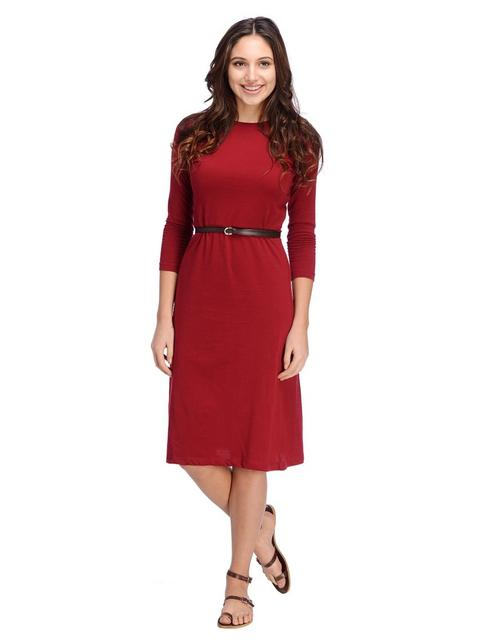 Maroon Aline Midi Dress