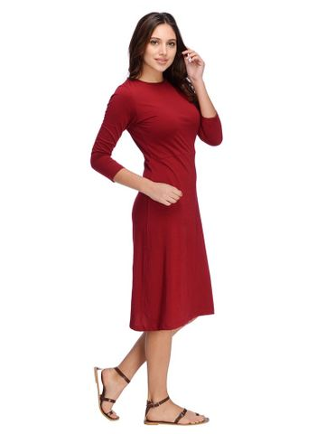 Maroon Aline Midi Dress