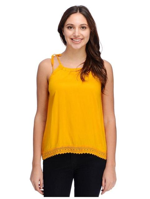Mustard top with lace panel bottom