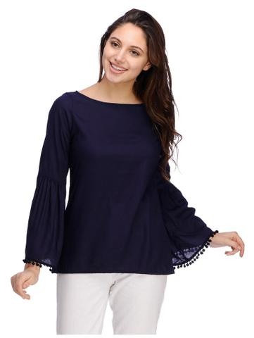 Navy Blue Rayon Bell Sleeves Top