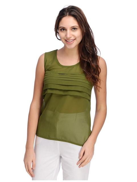 Olive Pleated Front Top