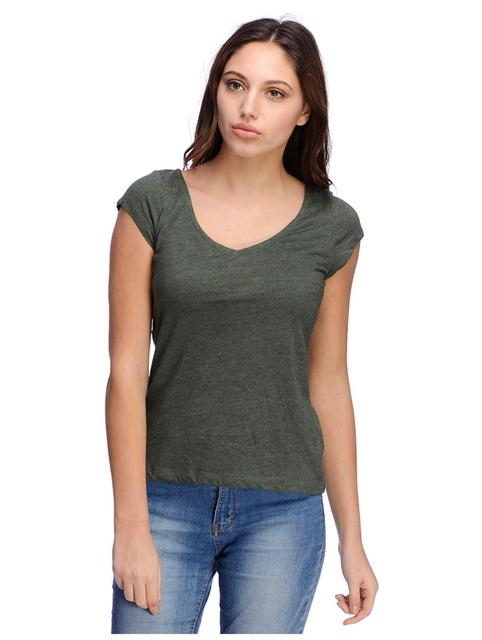 Green Melange v neck Tshirt