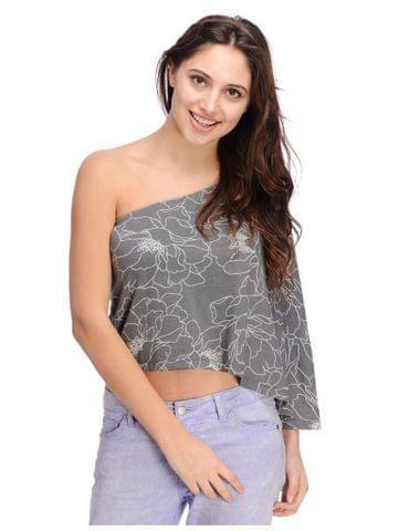 Floral Textured Grey One Shoulder Top