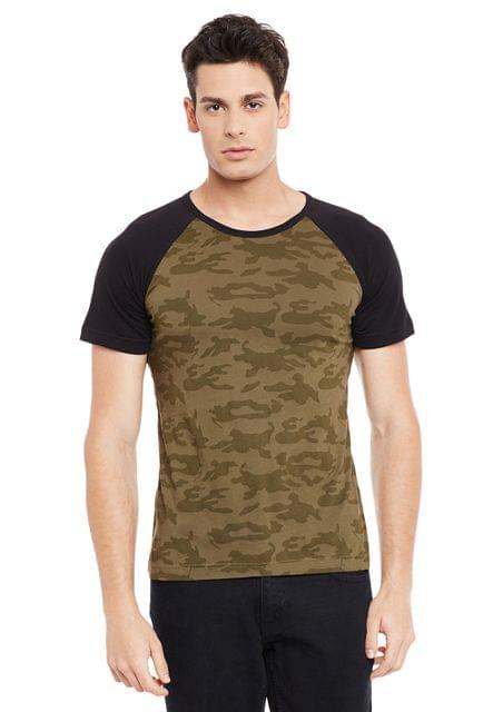 Olive Short Sleeve Camouflage Round Neck Tee