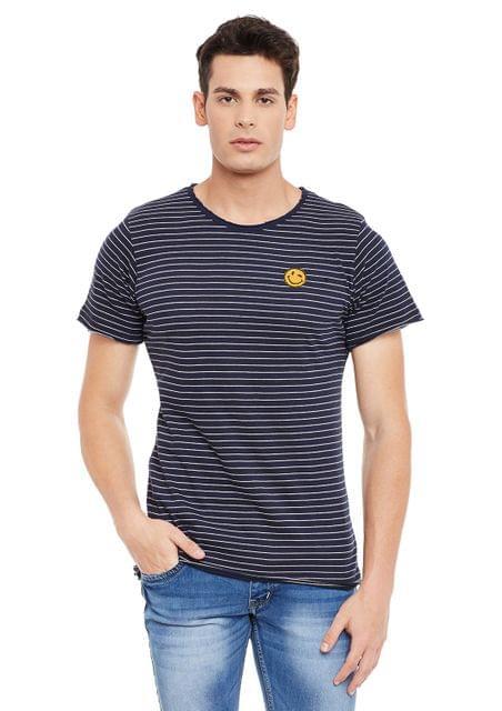 Navy Short Sleeve Striped Round Neck Tee
