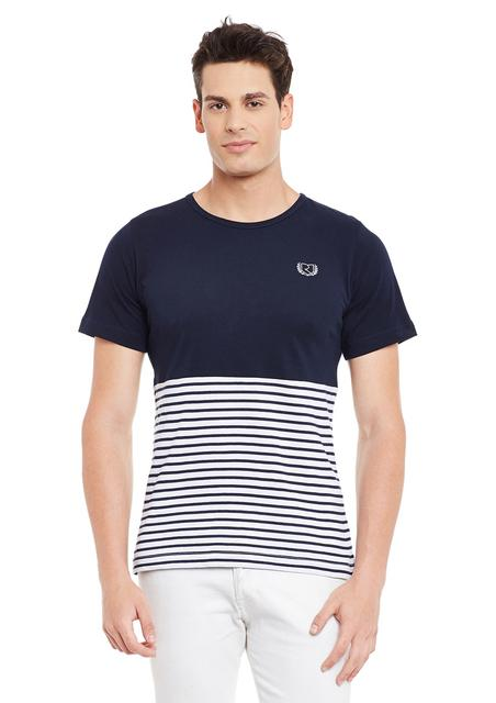 Multi Short Sleeve Striped Round Neck Tee