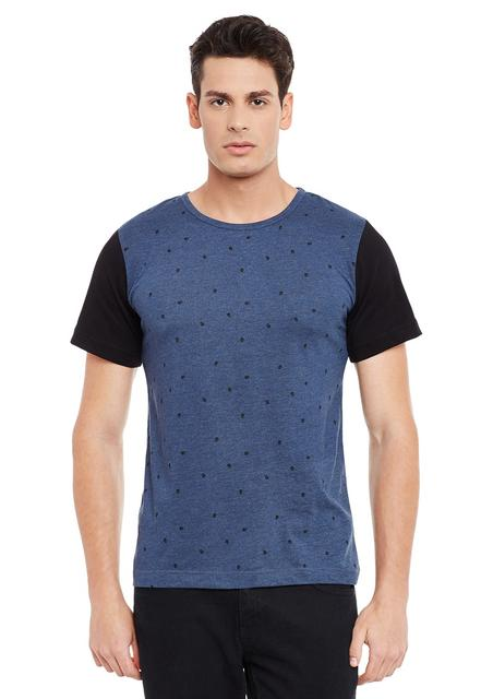 Blue Short Sleeve Solid Round Neck Tee