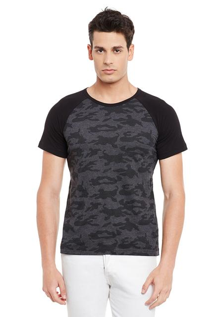 Black Short Sleeve Camouflage Round Neck Tee