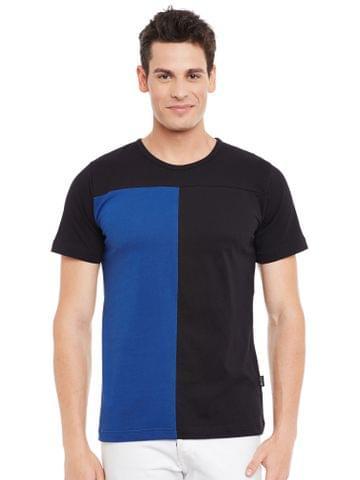 Black Short Sleeve Striped Round Neck Tee
