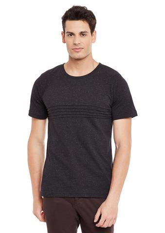 Black Nep Short Sleeve Solid Round Neck Tee