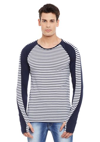 Navy Full Sleeve Striped Round Neck Tee